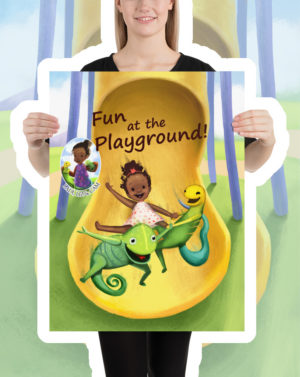Ladi Liz & Cam, Fun at the Playground! Kids Poster, Children's Poster