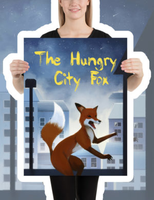 The Hungry City Fox, Kids Poster, Children's Poster