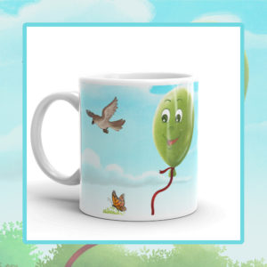 A Happy Green Balloon Children's Ceramic Mug