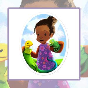Ladi, Liz & Cam, Kids Sticker, Children's vinyl sticker